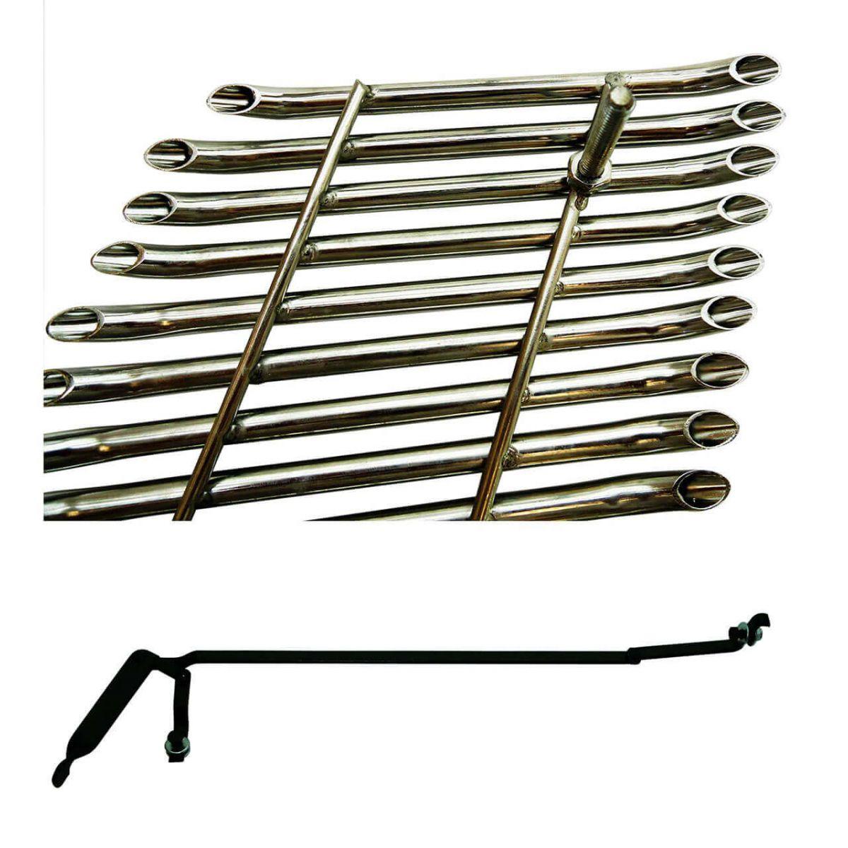 Sobre grade filetada em aço inox S10 2009 a 2011 kit 3 peças