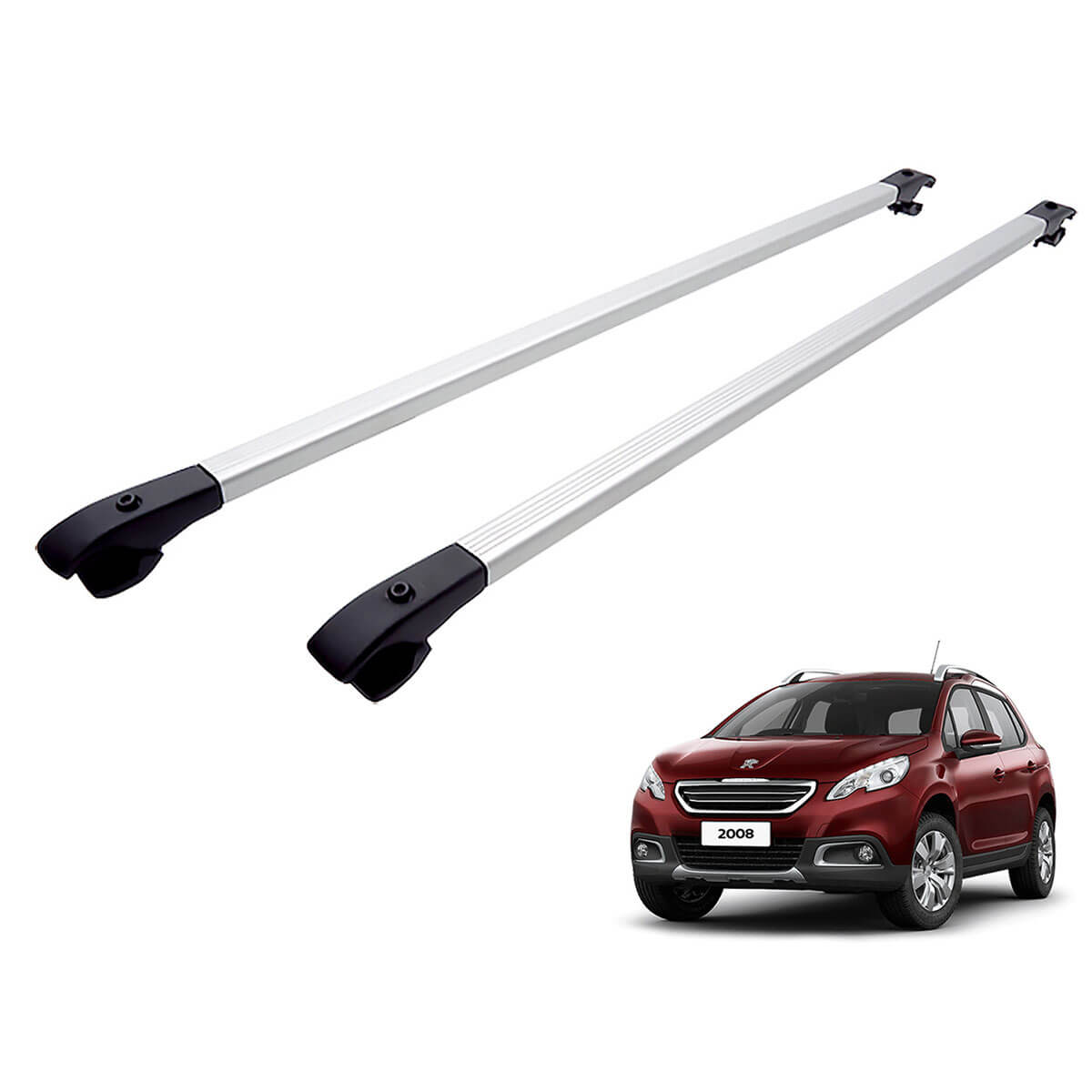 Travessa rack de teto alumínio Peugeot 2008 modelo 2016 a 2020