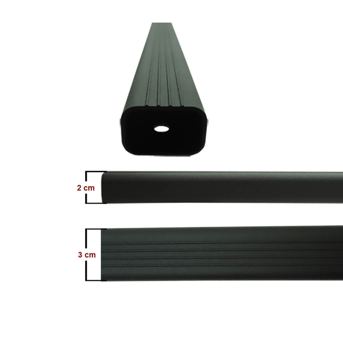 Travessa rack de teto alumínio preta Doblo 2002 a 2020 kit 3 peças