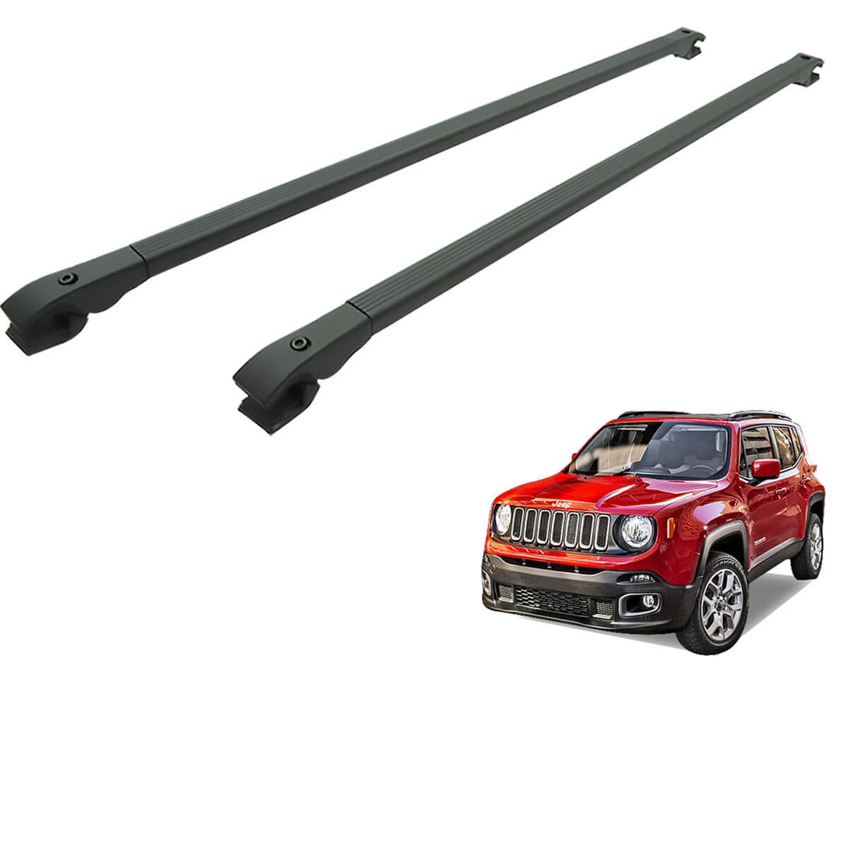 Travessa rack de teto alumínio preta Jeep Renegade 2016 a 2021