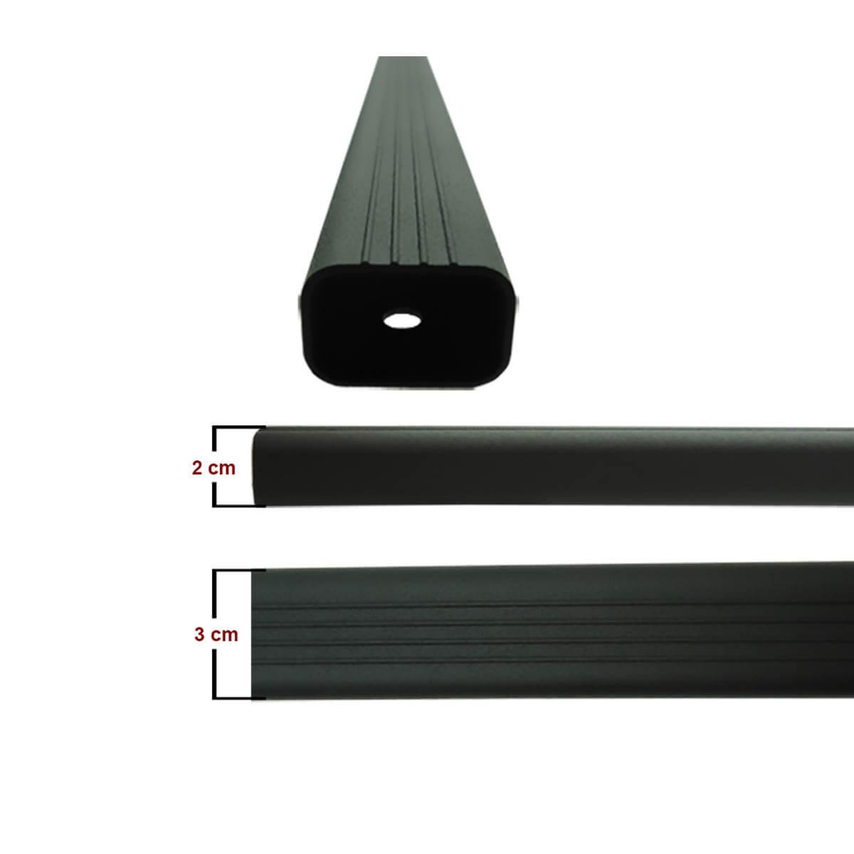 Travessa rack de teto alumínio preta Spacefox 2006 a 2019 ou Space Cross 2012 a 2018 kit 3 peças