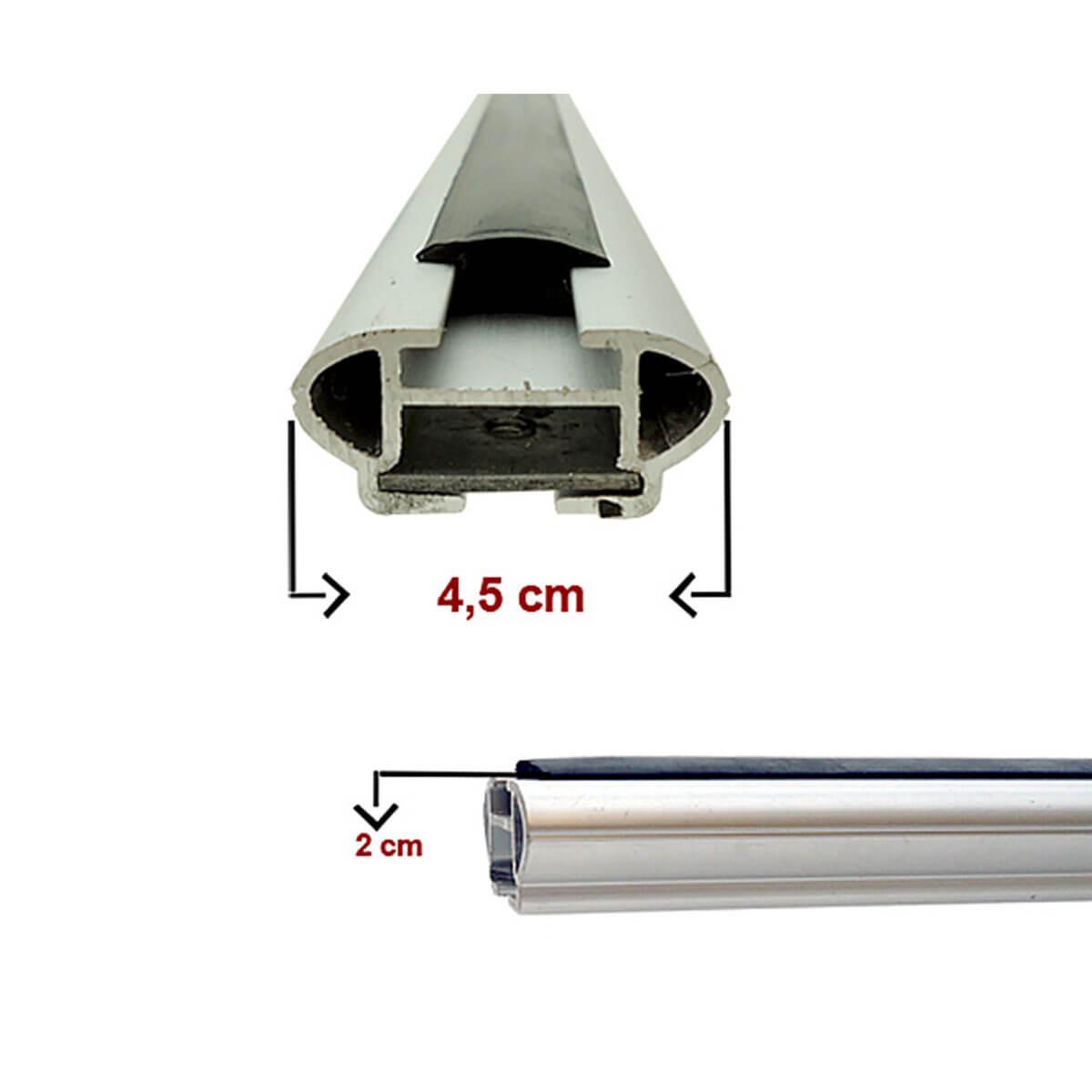 Travessa rack de teto larga alumínio Doblo 2002 a 2021