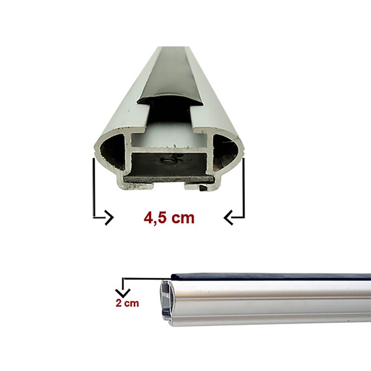 Travessa rack de teto larga alumínio Fiat Toro 2017 a 2021