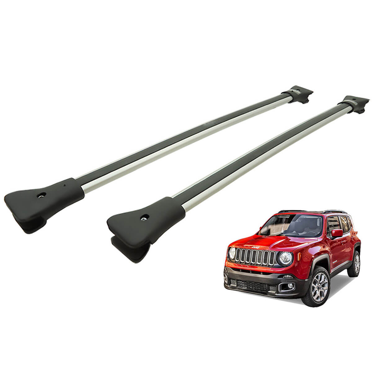 Travessa rack de teto larga alumínio Jeep Renegade 2016 2017 2018 2019