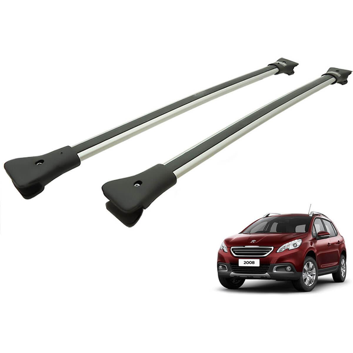Travessa rack de teto larga alumínio Peugeot 2008 modelo 2016 a 2022