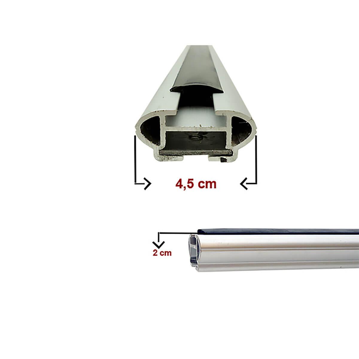 Travessa rack de teto larga alumínio Sandero Stepway 2009 a 2014