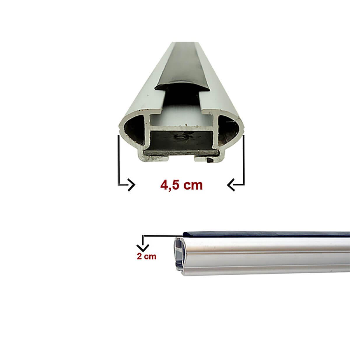 Travessa rack de teto larga alumínio Tracker 2014 a 2019