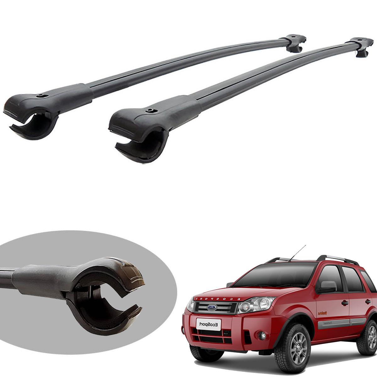 Travessa rack de teto larga preta alumínio Ecosport 2010 2011 2012