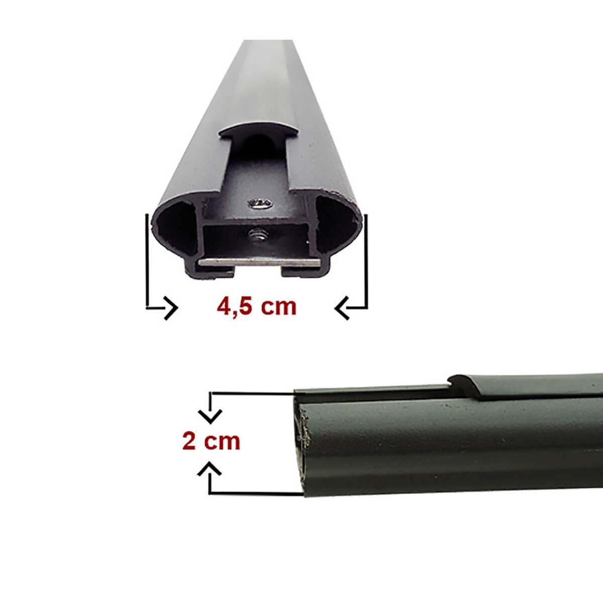 Travessa rack de teto larga preta alumínio Fiat Toro 2017 a 2021