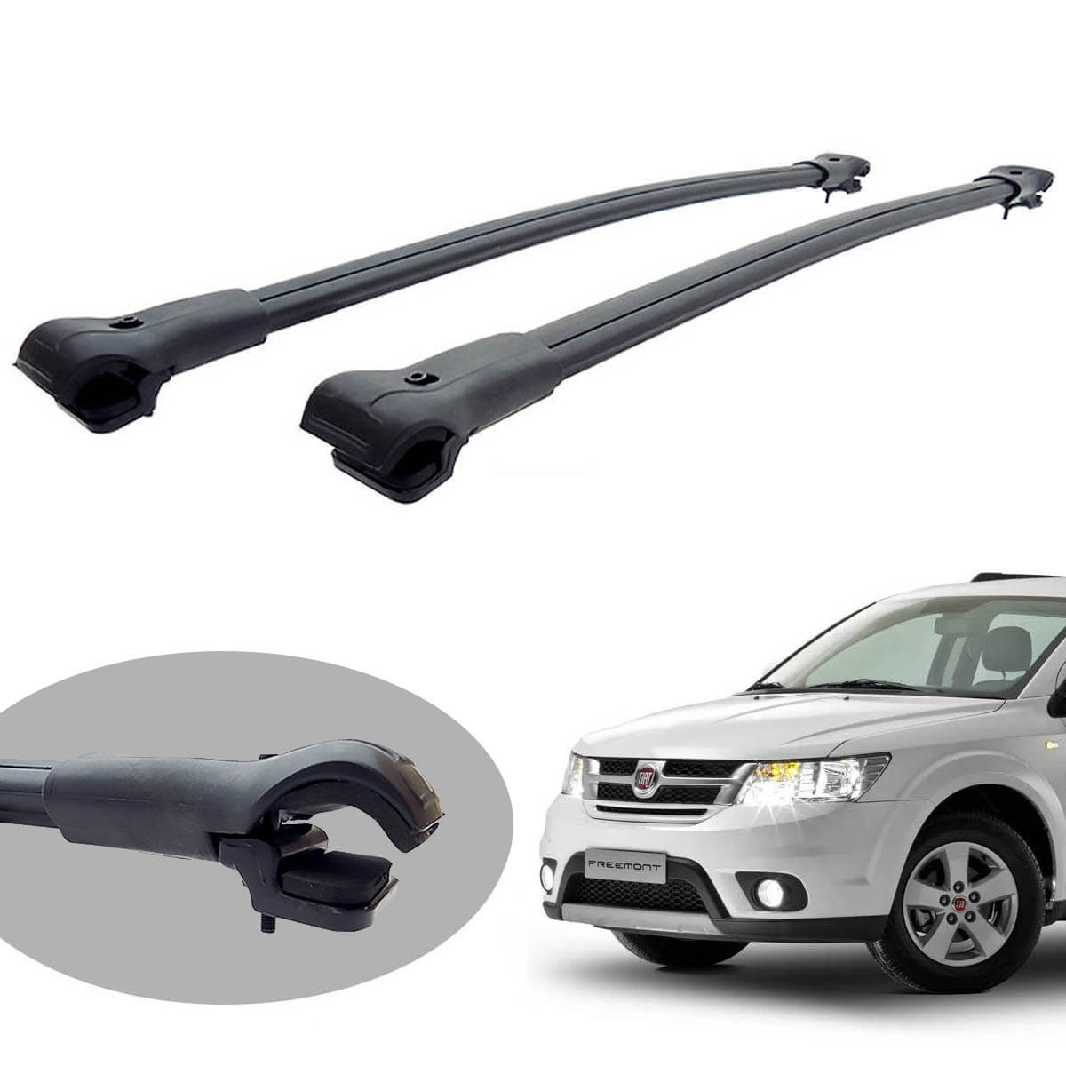 Travessa rack de teto larga preta alumínio Freemont 2012 a 2016 ou Dodge Journey 2010 a 2018