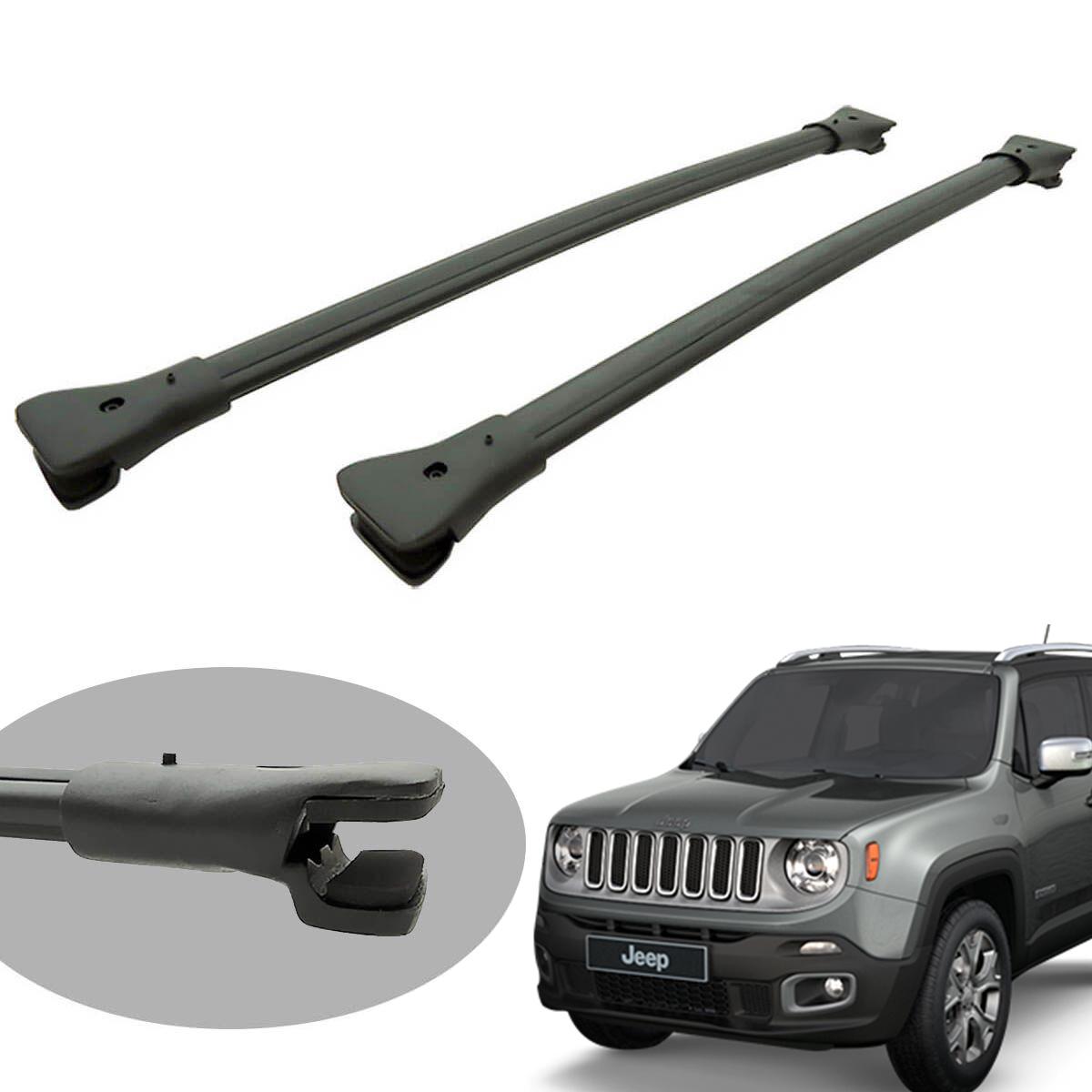 Travessa rack de teto larga preta alumínio Jeep Renegade 2016 a 2021