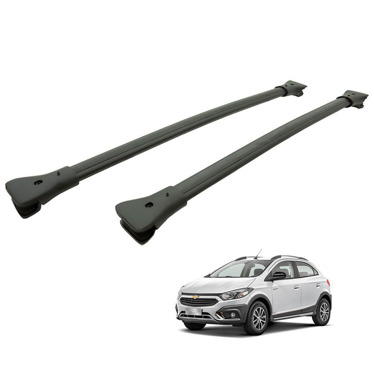 Travessa rack de teto larga preta alumínio Onix Activ 2017 2018 2019