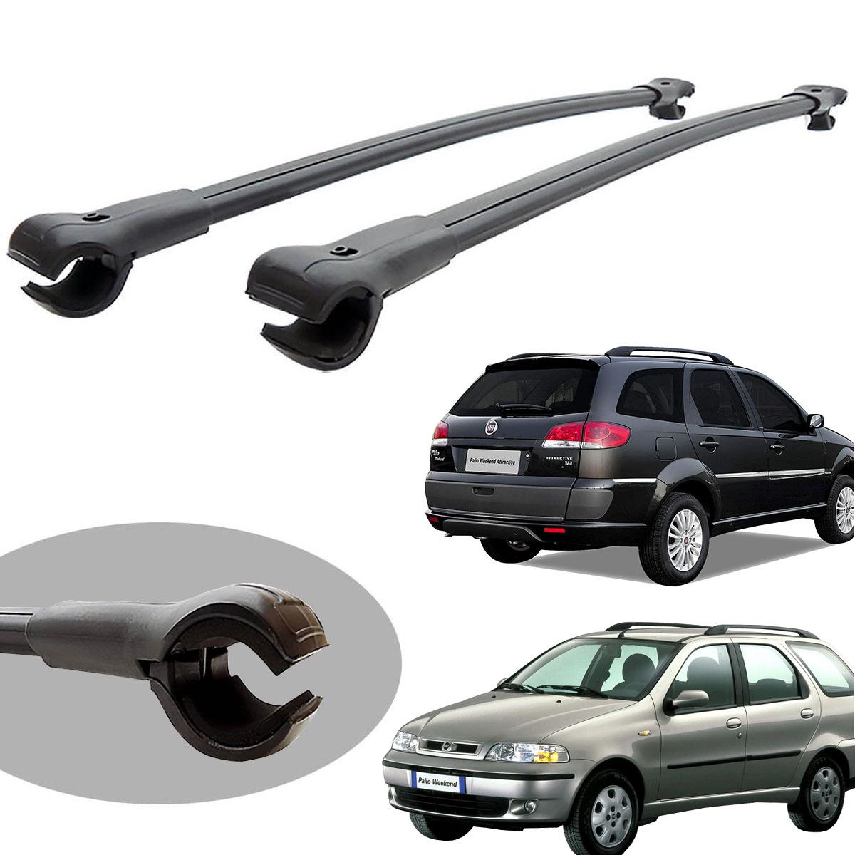 Travessa rack de teto larga preta alumínio Palio Weekend 1997 a 2020