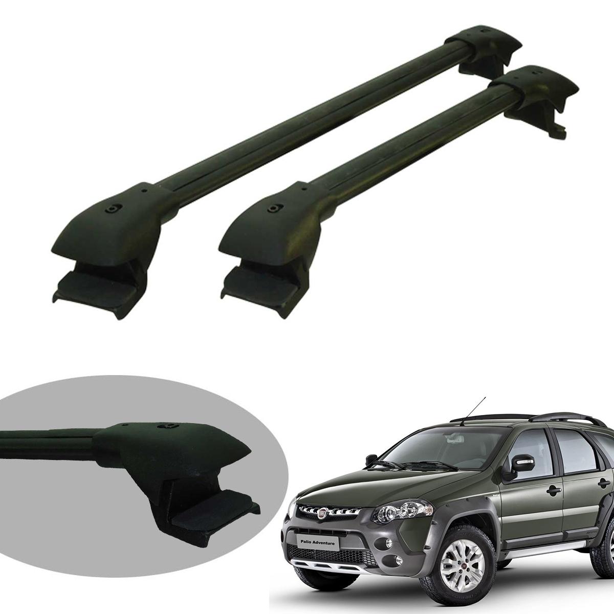Travessa rack de teto larga preta alumínio Palio Weekend Adventure 2009 a 2012 ou Weekend Adventure 2013 a 2020