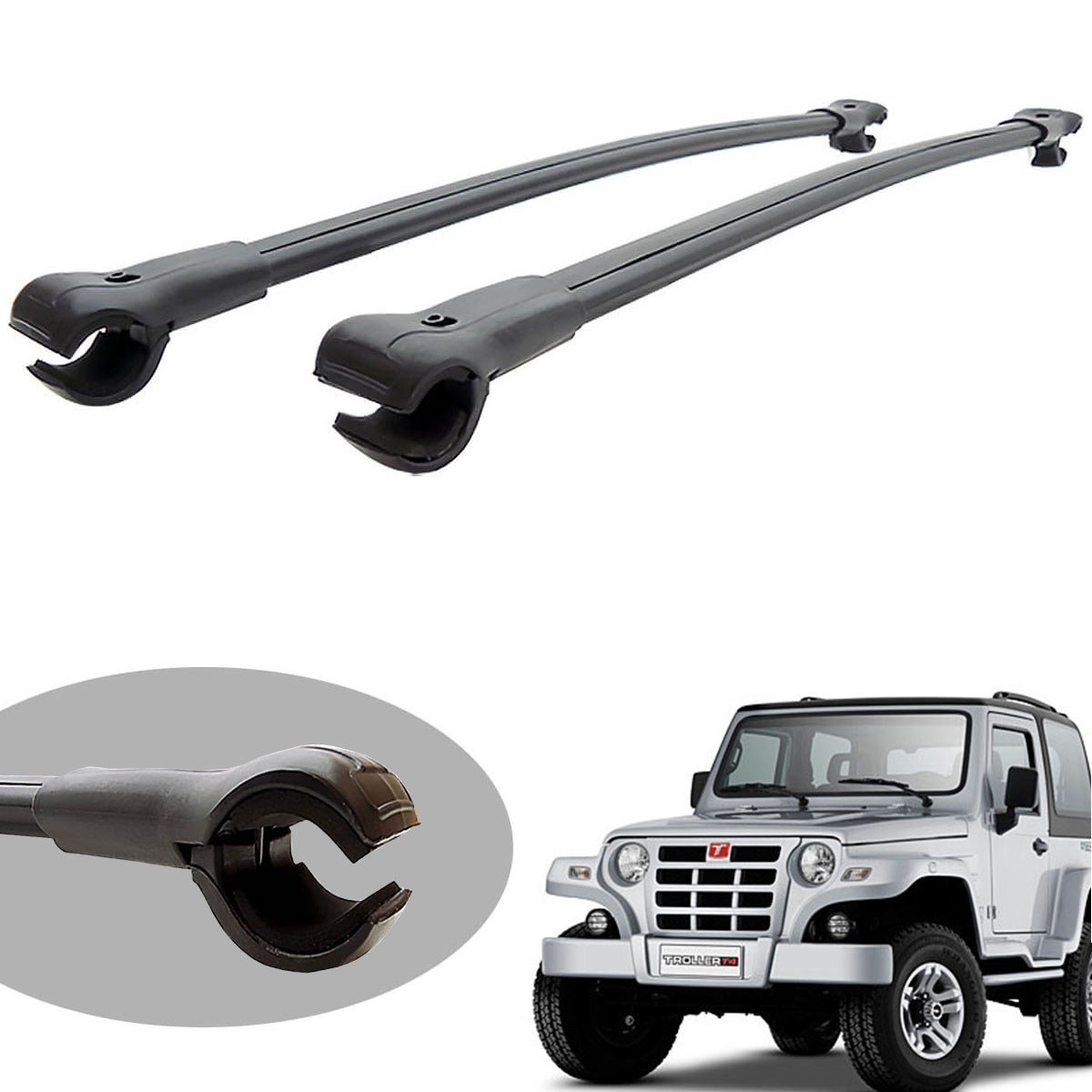 Travessa rack de teto larga preta alumínio Troller 2009 a 2014