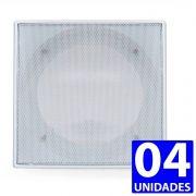 04 Tela Arandela Quadrada 6 Pol Branca Teto De Gesso Sanca
