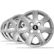 Jogo Calota Peugeot Aro 14 206 207 307 Com Emblema Preto