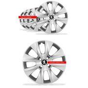 Jogo Calota Peugeot Aro 14 206 207 208 307 Emblema