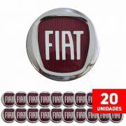 - Kit 20 Calota Miolo De Roda Punto 49,6mm Logo Vermelho