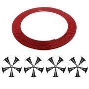 Kit Adesivo De Roda + Friso Protetor Roda Vermelho Cruze