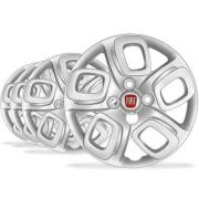 Jogo Calota Aro 14 Novo Uno Way 2015 Emblema Fiat