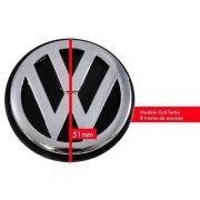 Calota Miolo De Roda Vw Gol Turbo 51mm Logo Cromado