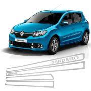 Jogo Friso Lateral Resinado Vazado Renault Sandero - Cromado