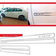 Jogo Friso Lateral Resinado Vazado New Civic 2015 - Cromado