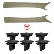 Kit Acabamento Coluna Para-brisa Omega Gelo + Grampo Fixação