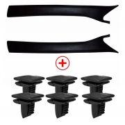 Kit Acabamento Coluna Para-brisa Omega Preto + Grampo Fixação