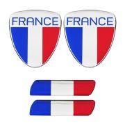 Adesivo Resinado Bandeira França Renault Citroen Peugeot 4pç