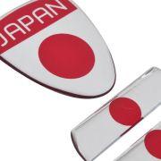 Adesivo Resinado Bandeira Japão Toyota Nissan 3pçs