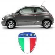 Adesivo Resinado Escudo Fiat 500 Punto Linea Bandeira Itália