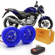 Alarme Moto Caixa Som Mp3 Fm Pen Drive Usb Cartão - Azul