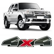 Emblema Adesivo 4x4 Ranger 2010 2011 2012 Preto e Vermelho