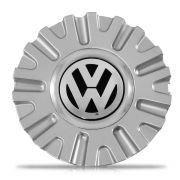 Jogo 4 Calota Centro Miolo Roda KR1560 Prata Emblema VW