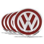 Jogo 4 Calota Centro Miolo Roda Up Emblema VW - Vermelho