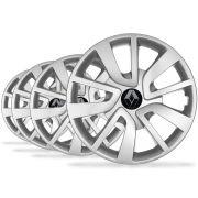 Jogo Calota Aro 14 Logan Sandero 2015 Emblema Renault