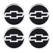 Jogo Emblema Roda 55mm Resinado GM Preto com Cromado