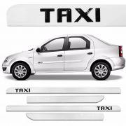 Jogo Friso Lateral Personalizado Logo Taxi Resinado - Branco