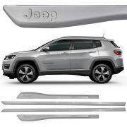 Jogo Friso Lateral Pintado Compass Logo Jeep Prata Melfi