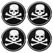 Kit 04 Emblema Roda 48mm Resinado Caveira Crânio Skull