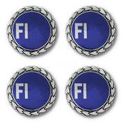 Kit 04 Emblema Roda 52mm Resinado Fiat Azul Antigo