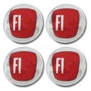 Kit 04 Emblema Roda 52mm Resinado Fiat Vermelho - Diadema