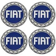 Kit 4 Emblema Roda 90mm Resinado Fiat Azul Uno Palio Strada
