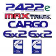 Kit 7 Adesivo Emblema Ford Cargo 2422e 6x2 Maxtruck Cummins