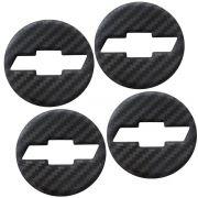 Kit Emblema Resinado Carbono Calota Gm Onix Cruze Spin Celta