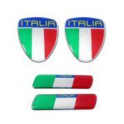 Kit Adesivo Emblema Resinado Coluna Porta Italia 4pçs