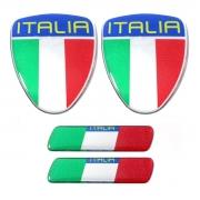 Kit Adesivo Resinado Coluna Escudo Fiat 500 Itália 4pçs