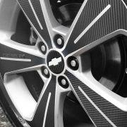 Kit Adesivo Roda E Emblema Miolo Roda Fibra Carbono Cruze
